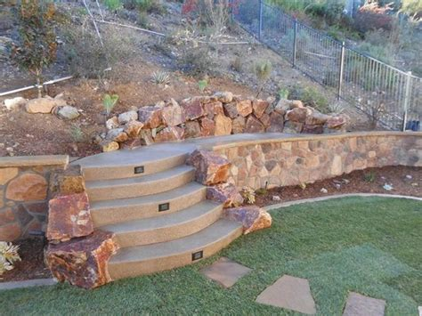 backyard rock wall retaining and landscape wall san marcos ca photo