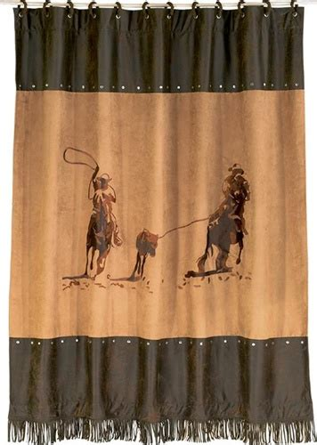 western shower curtains on sale team ropers cowboy shower curtain