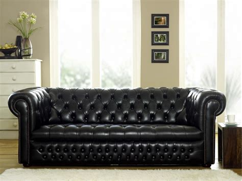 The Chesterfield Sofa Ludlow Black Leather Chesterfield Sofa The Chesterfield Company