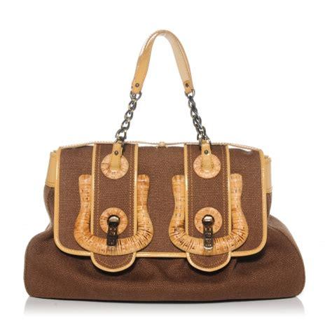 Canvas And Wicker B Fendi Bag by Fendi Canvas Raffia B Bag Brown 43909