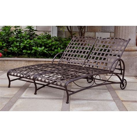 outdoor double chaise santa fe iron multi position outdoor double chaise lounge