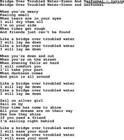 testo trouble song lyrics for bridge troubled water simon and