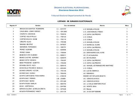 jurados electorales bolivia jurados de mesa en pando elecciones generales 2014 bolivia