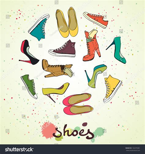 Value Made Flat Shoes Anyam set of different shoes in circle shape made of high
