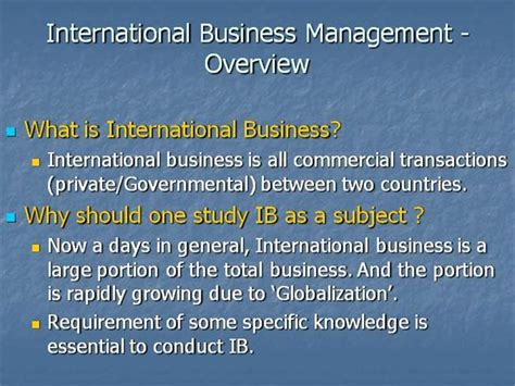 What Is The Difference Between Mba And International Mba by International Business Overview Of International Business Ppt
