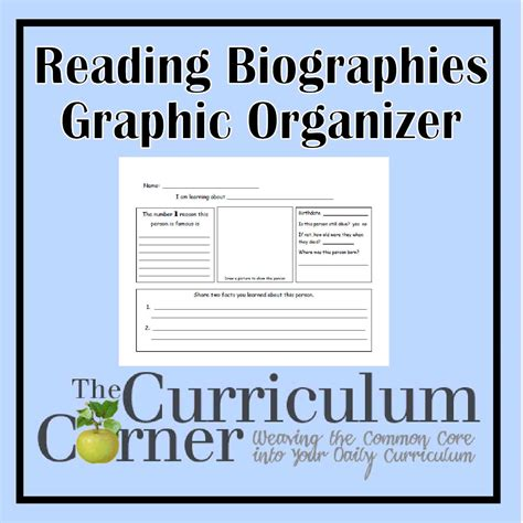 Reading Biography Graphic Organizer | biography reading graphic organizer the curriculum