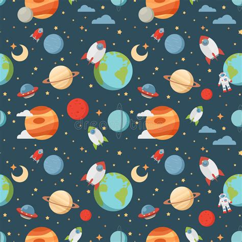 space pattern background free seamless children cartoon space pattern stock vector