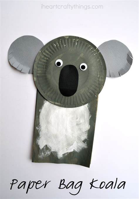 Kangaroo Paper Plate Craft - paper bag koala craft for bags for and