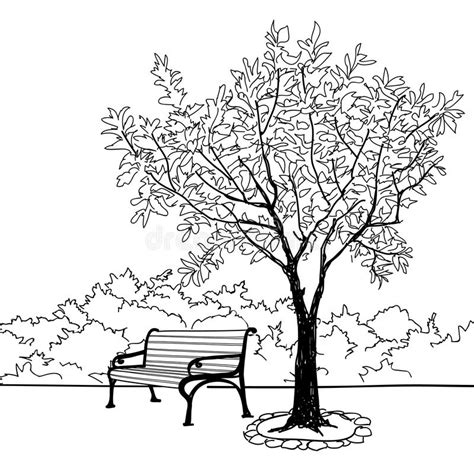 doodlebug park bench in city park garden landscape nature skyline stock
