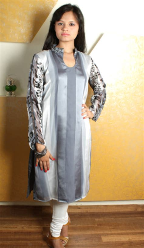 Oneck Stripes Grey buy grey satin stripes neck kurti with black print