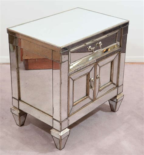 Table With Cabinet And Drawer Single Vintage Mirrored Side Table With Drawer And Cabinet