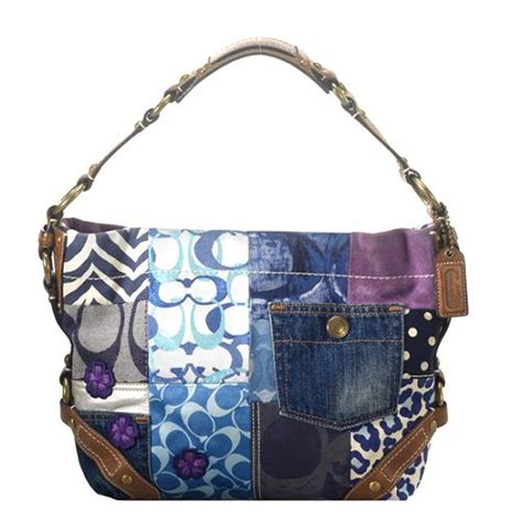 Coach Patchwork Handbag - coach indigo denim patchwork hobo handbag