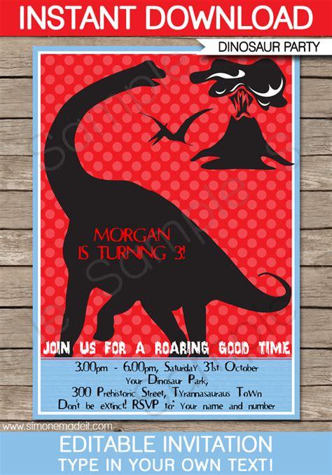 dinosaur party invitations template birthday party