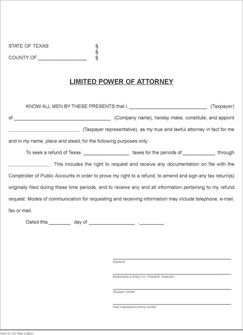 download texas limited power of attorney form for free