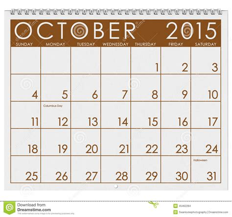 Calendrier 8 Octobre 2015 Calendrier 2015 Mois D Octobre Illustration Stock