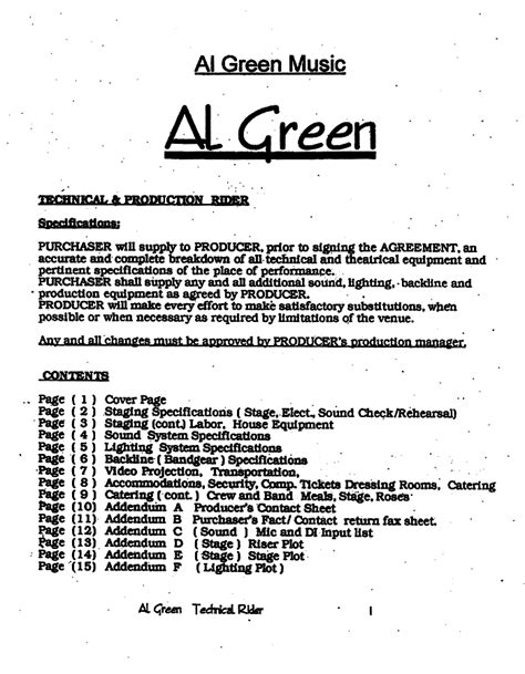 Al Green BACKSTAGE RIDER | The Smoking Gun