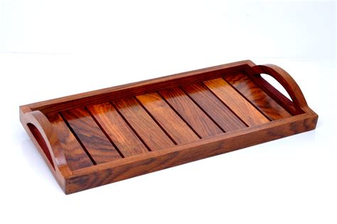 Handmade Wooden Trays - indian rosewood sheesham wood handmade handcrafted