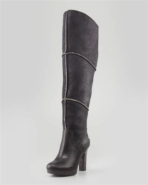ugg dreaux high heel knee boot black in black lyst