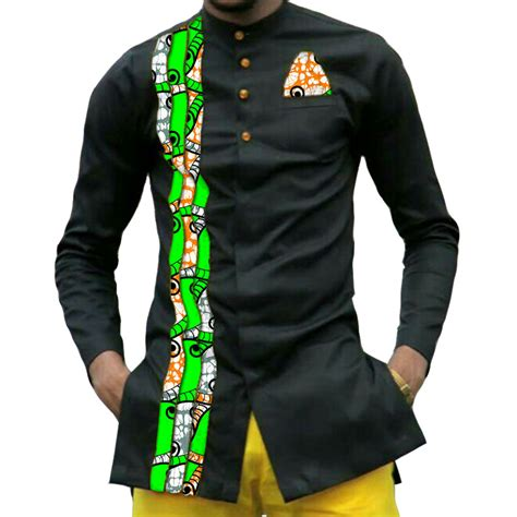 Handmade Mens Clothing - print mens dashiki shirts custom clothes