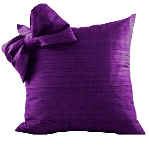 Purple Silk Throw Pillow Cover With Bow For Couch Or Pillow Purple Sofa Pillows