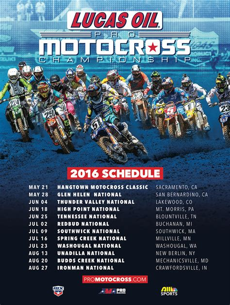 motocross race schedule lucas oil pro motocross 2016 lucas oil pro motocross