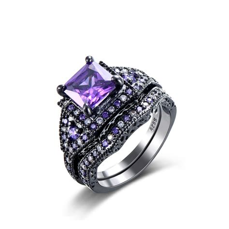 Black Engagement Rings by Amethyst Engagement Ring July Antique Amethyst