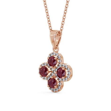 Ruby 9 05ct cluster ruby and 1 05ct pendant 9k gold valerie