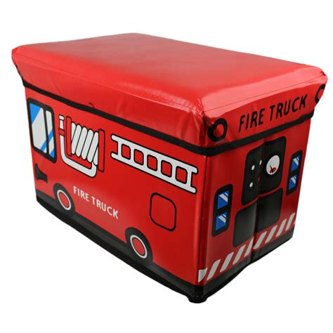 Storage Toy Padded Kids Box Bench Seat Fire Truck