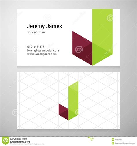 origami business card template modern letter j origami business card template stock