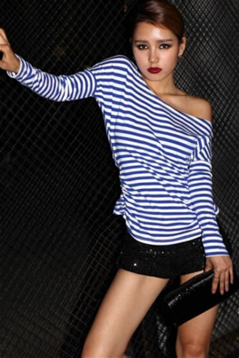 Blue Pleated Stripe Top Size S M 14798 blue stripes one shoulder womens unique sleeves