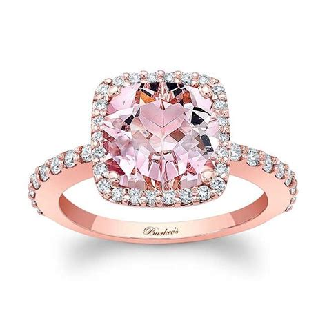 "Barkev""s Morganite Cushion Cut Engagement Ring MOC 8025LP"