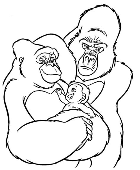 gorilla face coloring page coloring pages