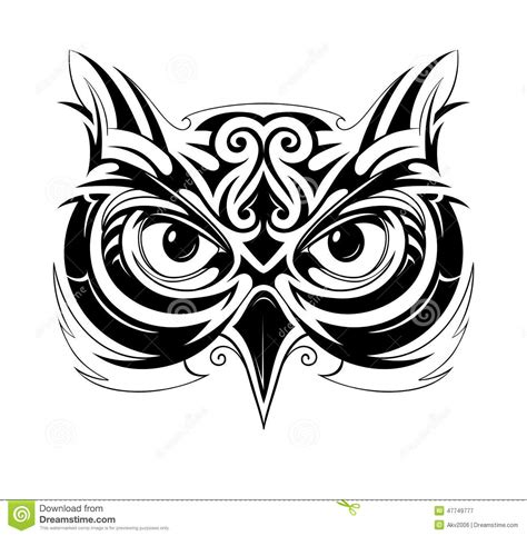 owl tattoo shape stock vector image of drawing