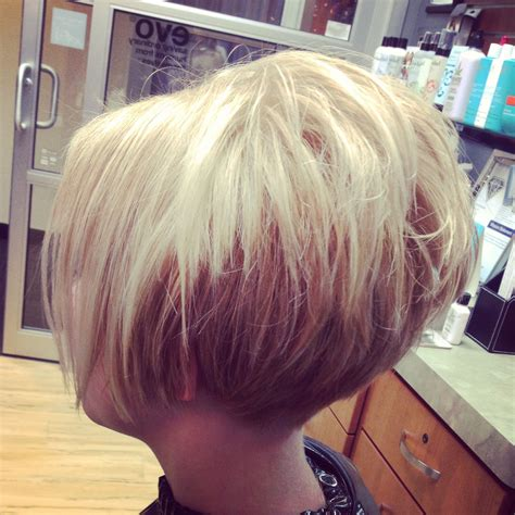 short stack with top volume haircut photos short cropped stacked tapered at neck bob hair by