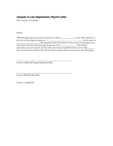 Mortgage Loan Payoff Letter Template Agreement Letter To Pay Debt