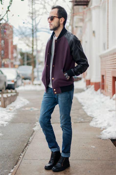 s purple varsity jacket grey crew neck t shirt blue