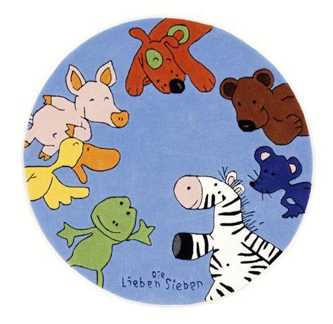 die lieben sieben teppich die lieben sieben kinder teppich rund blau 214 ko tex
