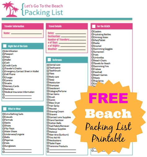5 beach vacation packing list authorization letter