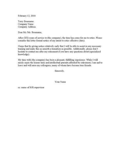 resignation letter for retirement retirement resignation letters