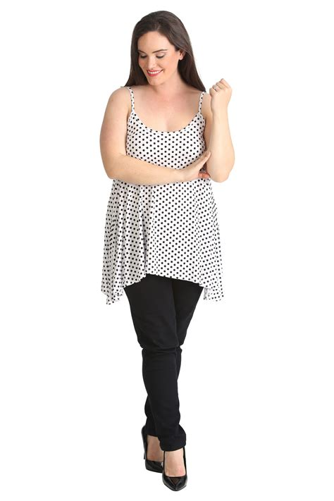 swing tops plus size womens plus size top ladies swing cami tank top polka dot