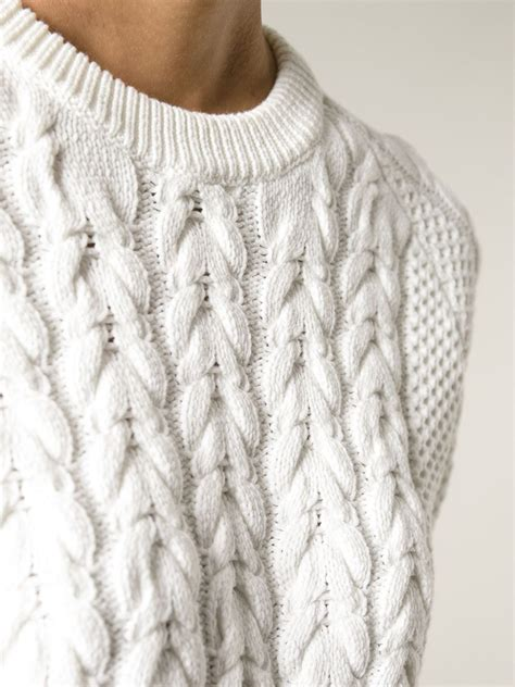 knit sweater lyst joseph sleeve cable knit sweater in white