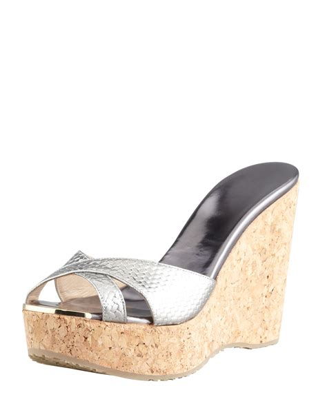 Mossimo Parry Patent Cork Slide Wedges by Lyst Jimmy Choo Perfume Metallic Crisscross Cork Wedge