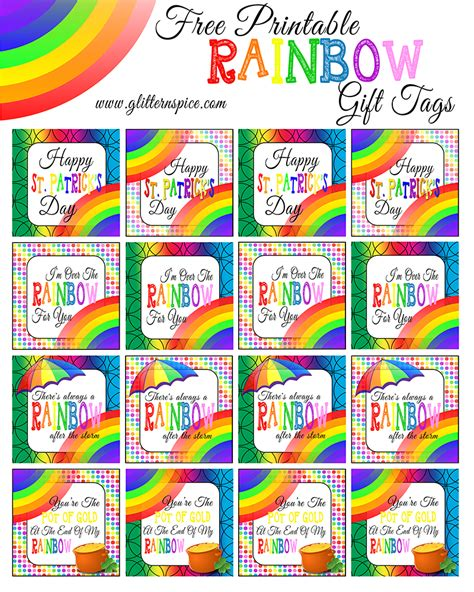 printable good luck gift tags rainbow in a jar free rainbow printables glitter n spice