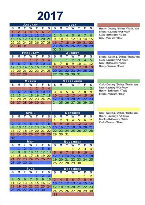 Chore Calendar The Workload Family Chore Calendar 4tunate