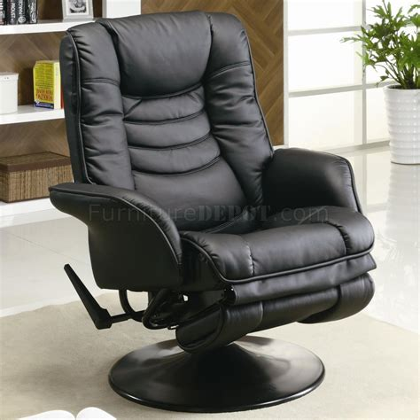 Black Leatherette Modern Swivel Recliner Chair W Round Base