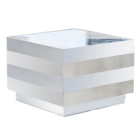 mirrored cube end table mirrored accent cube pedestal end table ebay