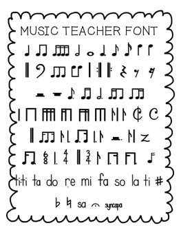 printable music font free music teacher font with standard and kodaly notation