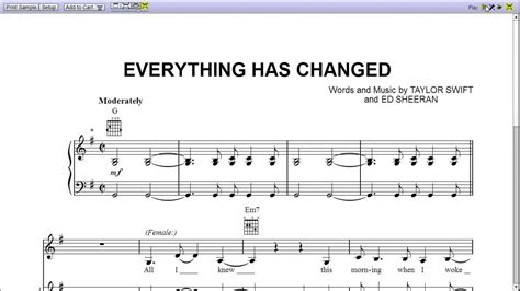 Everthing Has Changed everything has changed piano sheet teaser