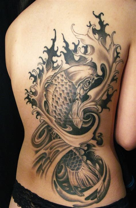 black and white koi fish tattoo black and white koi design of tattoosdesign of