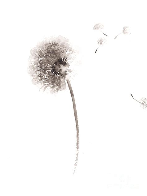 abstract flower dandelion watercolor painting painting by